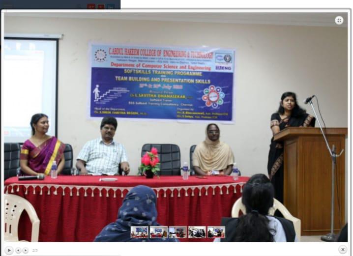 Programme at C Abdul Hakeem College Melvisharam TN