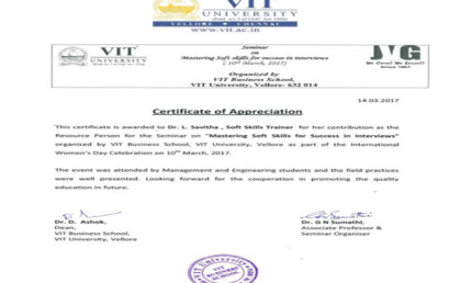 Certificate by VIT Vellore TN