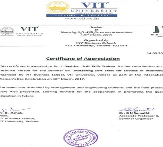 Certificate by VIT Vellore TN