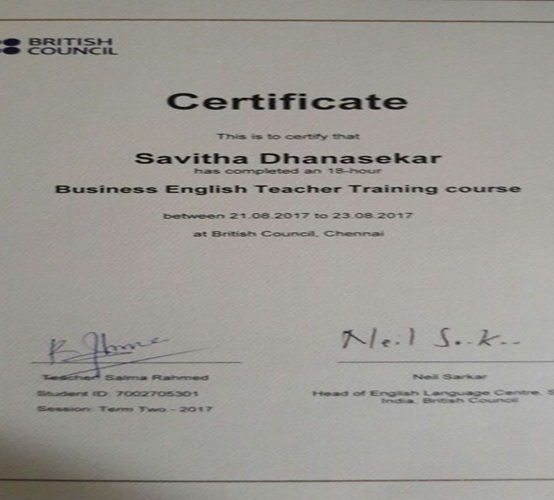 Certificate by British Council Chennai