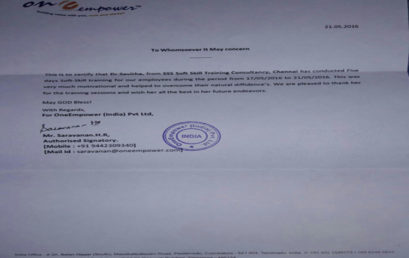 Certificate by OneEmpower Coimbatore